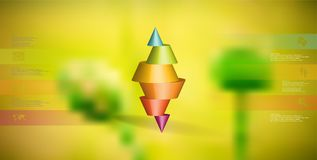 3D illustration infographic template with spiked cone horizontally sliced to six parts Stock Photography