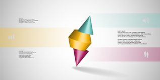 3D illustration infographic template with spiked cone sliced to three parts and askew arranged Royalty Free Stock Image