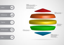 3D illustration infographic template with three cylinders between two cones horizontally arranged Stock Photography