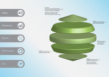 3D illustration infographic template with three cylinders between two cones horizontally arranged Royalty Free Stock Photo