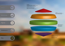 3D illustration infographic template with three cylinders between two cones horizontally arranged Royalty Free Stock Photography
