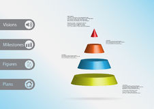 3D illustration infographic template with triangle horizontally divided to four color slices Stock Photography