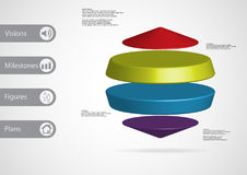 3D illustration infographic template with two cylinders between two cones horizontally arranged Stock Photo