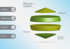 3D illustration infographic template with two cylinders between two cones horizontally arranged Royalty Free Stock Photos