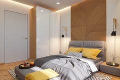 3d Illustration, Innenarchitekturkonzept des Schlafzimmers Sichtbarmachung des Innenraums im skandinavischen Baustil lizenzfreie abbildung