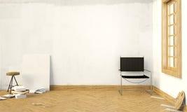 3d Illustration, Innenhippie Installation mit Stuhl Stockfotos