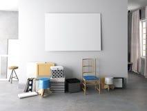 3d Illustration, Innenhippie Installation mit Stuhl pfosten Stockbild