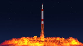 3D Illustration of an intercontinental ballistic missile. Launched from an underground silo Stock Photo