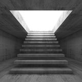3d illustration interior background with stairway. Abstract empty dark concrete 3d illustration interior background with stairway going up and out, front view Stock Images