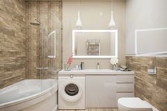 3d illustration of the interior of the bathroom in a modern   Stock Image