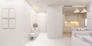 3d illustration of the interior design of an apartment. In Scandinavian style. Architectural visualization of the interior hallway and living room in white stock illustration