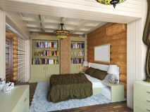 3D illustration of interior design of a bedroom in the house fro. 3D render of interior design of a bedroom in the house from a log Royalty Free Stock Images
