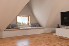 3d illustration interior design ilving room of the attic floor of a private cottage stock photography