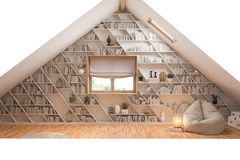 3d illustration interior design ilving room of the attic floor of a private cottage royalty free stock photo