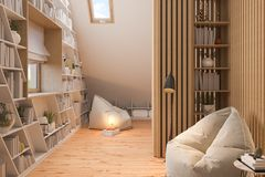 3d illustration interior design ilving room of the attic floor of a private cottage stock images