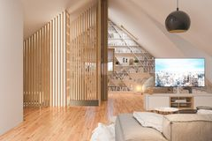3d illustration interior design ilving room of the attic floor of a private cottage royalty free stock image