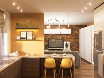 3d illustration of the interior design of the kitchen in a modern Scandinavian style. stock illustration
