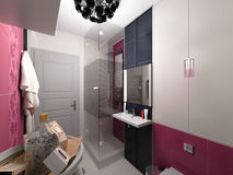 3D illustration of interior design of a pink bathroom Stock Photo