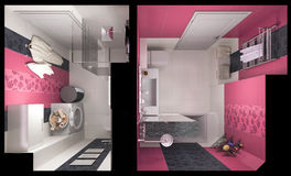 3D illustration of interior design of a pink bathroom Stock Photos