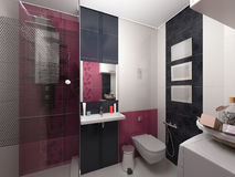 3D illustration of interior design of a pink bathroom Stock Images