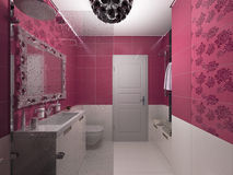 3D illustration of interior design of a pink bathroom Royalty Free Stock Photo