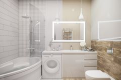 3d illustration of an interior design of a white minimalist bathroom royalty free illustration
