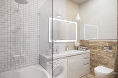 3d illustration of an interior design of a white minimalist bathroom stock illustration