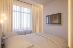 3d render of an interior design of a white minimalist bedroom. Royalty Free Stock Photography