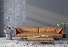 Living room with a leather sofa stock illustration