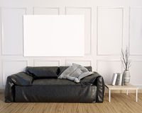 3d illustration, interior with leather sofa. 3d illustration, interior with  leather sofa. posterl mock up Royalty Free Stock Images