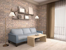 3D illustration of interior living room with a sofa Royalty Free Stock Photos