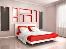 3d illustration of interior of modern bedroom. In red and gray to Royalty Free Stock Photo