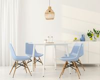 Light dining room with blue chairs. 3D illustration. Interior of a modern dining room with blue chairs and a bentwood chandelier Royalty Free Stock Images