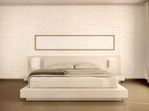 3d illustration of interior modern light bedroom Stock Photos