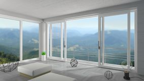 White wide sliding door in mountain chalet. 3d illustration. Interior of a modern villa. Panoramic sliding windows and doors. Loft. House or hotel on the sea royalty free illustration
