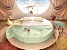 3d illustration of interior with a round bed. And a round window Royalty Free Stock Photos