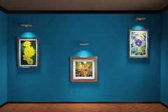 3d illustration Interior. Wall parquet and plinths on the wall hung three paintings with flowers. Stock Image