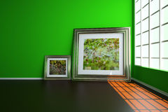3d illustration Interior. Wall plinths floor window on the floor is two pictures with the image of dew drops. Wall plinths floor window on the floor is two Stock Photography