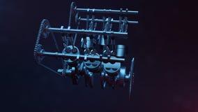 3d illustration of an internal combustion engine. Engine parts, crankshaft, pistons, fuel supply system. V6 engine Royalty Free Stock Photo