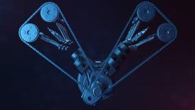 3d illustration of an internal combustion engine. Engine parts, crankshaft, pistons, fuel supply system. V6 engine Stock Image