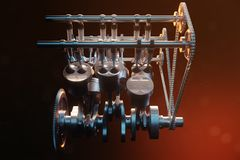 3d illustration of an internal combustion engine. Engine parts, crankshaft, pistons, fuel supply system. V6 engine. Pistons with crankshaft on a black Stock Photos