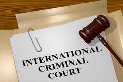 International Criminal Court concept. 3D illustration of INTERNATIONAL CRIMINAL COURT title on legal document Royalty Free Stock Image