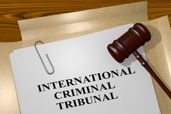 International Criminal Tribunal concept. 3D illustration of INTERNATIONAL CRIMINAL TRIBUNAL title on legal document Stock Images