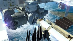 Detailed close-up of the International Space Station flying abov Royalty Free Stock Photography