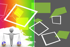 3d illustration of internet and at the rate symbol  on scale Royalty Free Stock Photography
