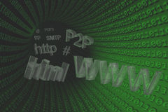 3D Illustration: Internet terms and symbols in a green tube Royalty Free Stock Photo