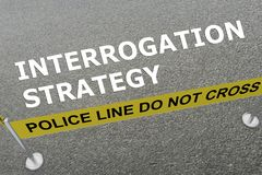 INTERROGATION STRATEGY concept. 3D illustration of INTERROGATION STRATEGY title on the ground in a police arena Stock Photography