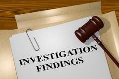Investigation Findings concept. 3D illustration of INVESTIGATION FINDINGS title on legal document Royalty Free Stock Photos