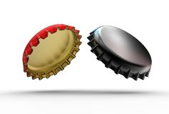 3d illustration of iron bottle caps stock images