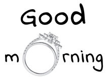 3D illustration isolated black text words good morning with wedd. Ing silwer diamond ring on a white background Stock Images